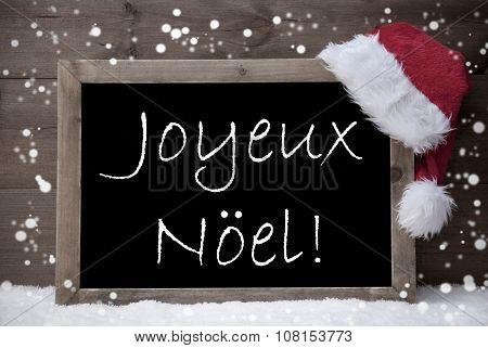 Gray Card, Chalkboard, Joyeux Noel Mean Merry Christmas, Snow