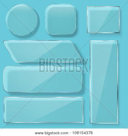 Vector modern transparent glass plates set