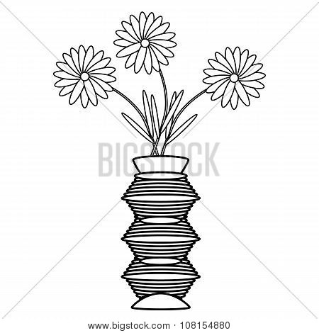 Vase With Flowers On White.