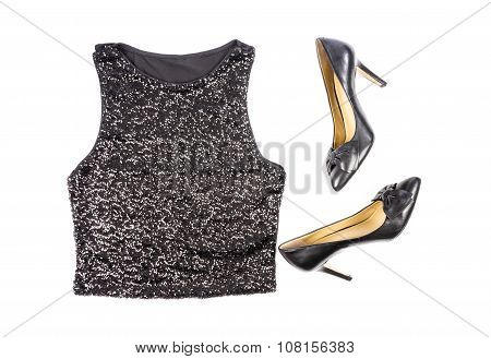 Women's Black Sequence Tank Top and Stilettos Shoes Isolated on White