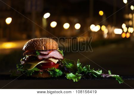 Burger With Ham And Salad