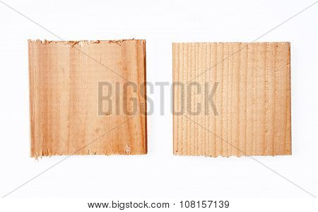 Wooden sign on white background.