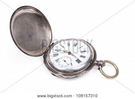 Antique pocket watch on white background.