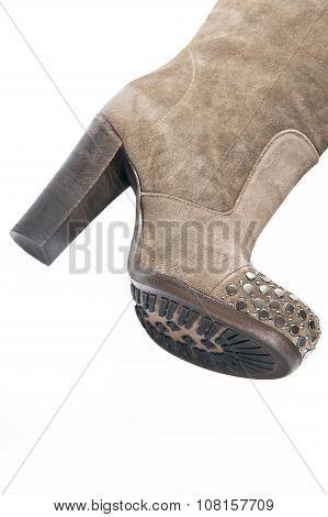 Women's Beige Suede High-heeled Boots..