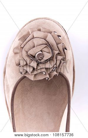 Women Summer Moccasins Decorated With Fabric Flowers (part Of The Toe).
