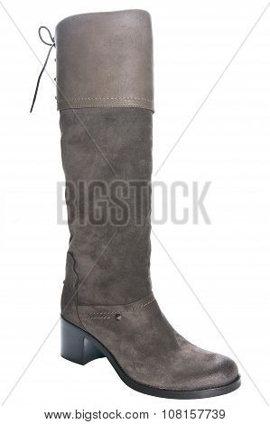 Women's Brown Leather Boots On Average Heel..