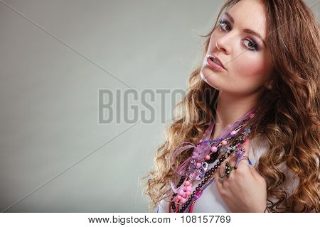 Pretty Young Woman Wearing Jewelry Necklaces Rings