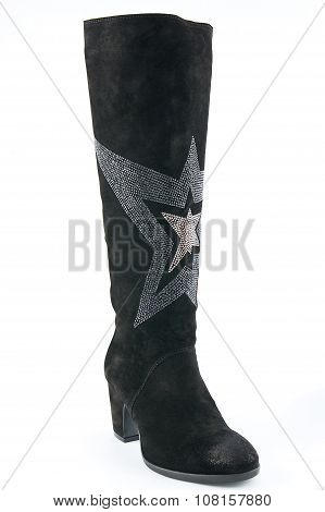 Female Black Suede High-heeled Boots..