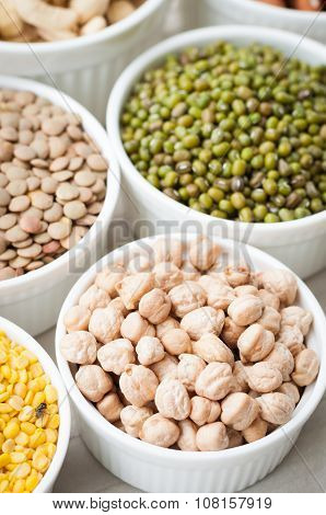 Collection Set Of Beans, Legumes, Peas, Lentils On Ceramic Bowl On White Wooden Background, Chick Pe