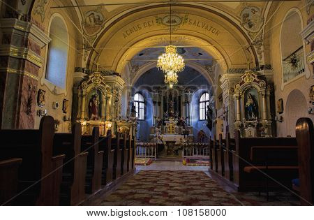 Interior View Of Roman Catholic Church Of St. James In Baroque Style From The 18Th Century. Prasice,