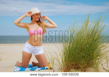 Sexy Young Girl On Beach
