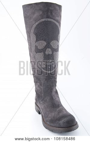 Women's Gray Suede Boots With Low Heels..