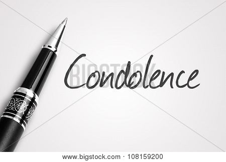 Black Pen Writes Condolence On White Blank Paper