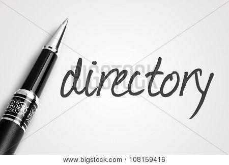 Black Pen Writes Directory On White Blank Paper