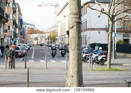 Police Officers In Front Of Strasbourg Opera