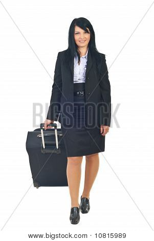 Business Woman Walking With Luggage