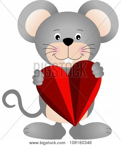 Cute mouse holding a heart