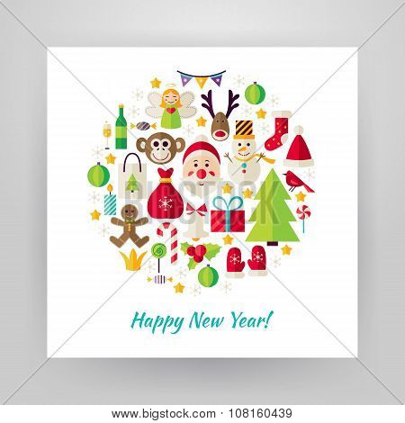 Flat Style Circle Vector Set Of Happy New Year Objects Over White Paper