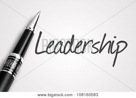 Black Pen Writes Leadership On White Blank Paper