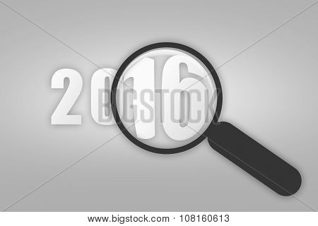 Year 2016 And Magnifying Glass