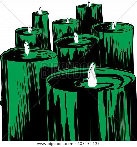Set Of Lit Green Candles