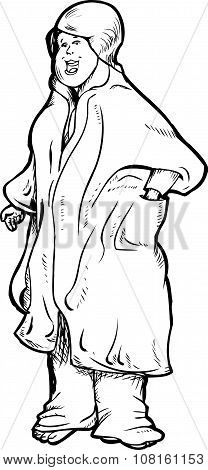 Outline Of Happy Woman In Robe