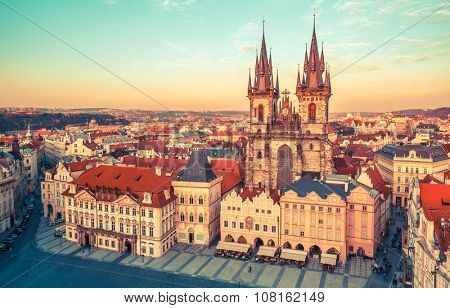 Church of our lady before tyn on Old Town Square Prague Czech republic. Illustration