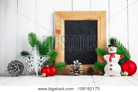 Christmas still life with snowman and firtree on wooden board. Illustration