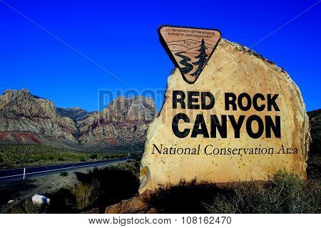 Entrance Sign, Red Rock Canyon National Conservation Area, Las Vegas, Nevada, USA