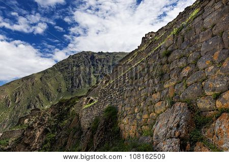Ollantaytambo ruins in the Sacred Valley Peru