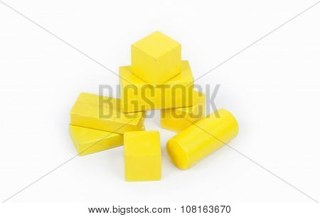 Wooden colorful bricks isolated on white background.