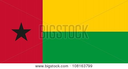 National Flag Of Guinea-bissau In Official Colors And Proportions