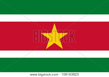 National Flag Of Suriname In Official Colors And Proportions
