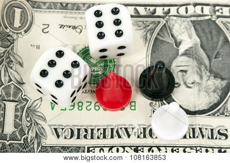 Gambling dice to win money.
