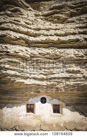 hermitage Virgen de la Peña carved into the rock - Tosantos, Burgos, Spain