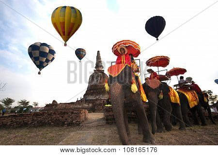Hot Air Balloon Show On Ancient Temple In Thailand International Balloon Festival 2009.