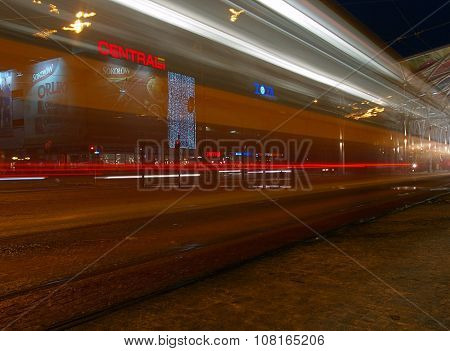 Tram and tram station.
