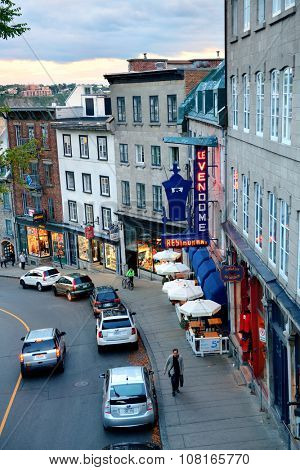 QUEBEC CITY, CANADA - SEP 10: Old street with traffic on September 10, 2012 in Quebec City, Canada. As the capital of the Canadian province of Quebec, it is one of the oldest cities in North America.