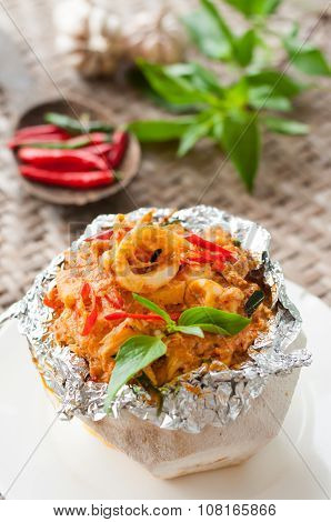 Thai Food, Steam Seafood With Curry Paste Cakes In Coconut Shell (haw Mok Thalay)