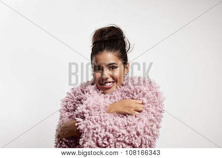 Pretty Smiling Girl Feeling Freeze