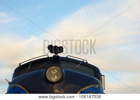 passenger window train wagon on cloudy sky early morning