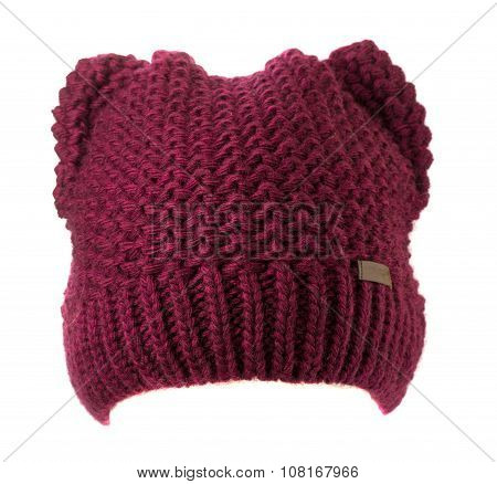 Knitted Hat Isolated On White Background
