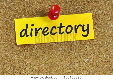 Directory  Word On Notes Paper With Cork Background