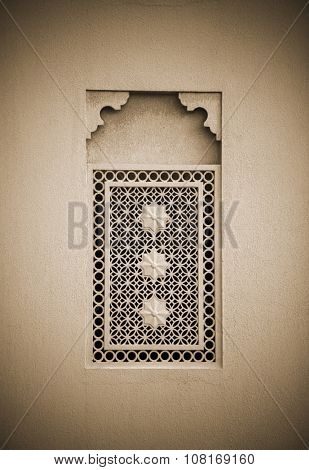 Window grill design of an old middle eastern architecture. Arabic architectural details.
