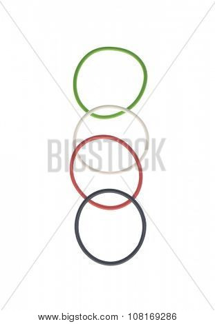 Thin bands in UAE national flag colors arranged together on white background. Unity and diversity concept.