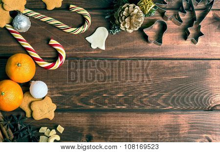 On a wooden desk background Christmas