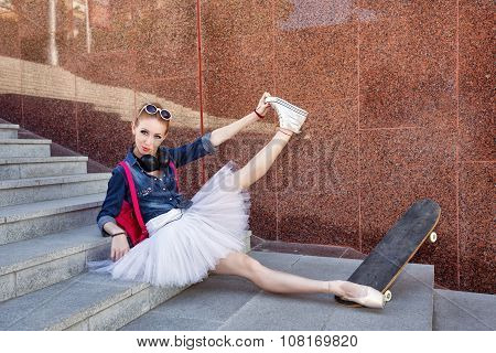 Ballerina Hipster Sitting On The Steps.