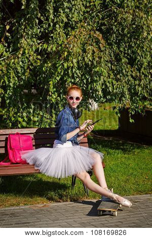 Ballerina Hipster Sitting On The Bench.