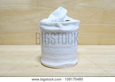 tissue on background wood