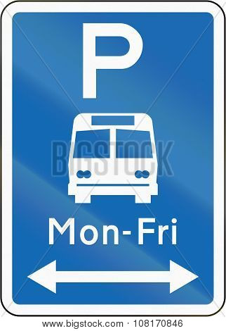 New Zealand Road Sign - Bus Parking With Non-standard Hours